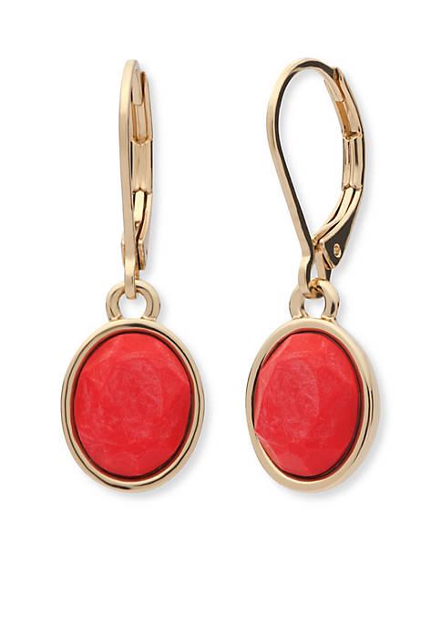 Anne Klein Gold Tone Single Drop Stone Earrings