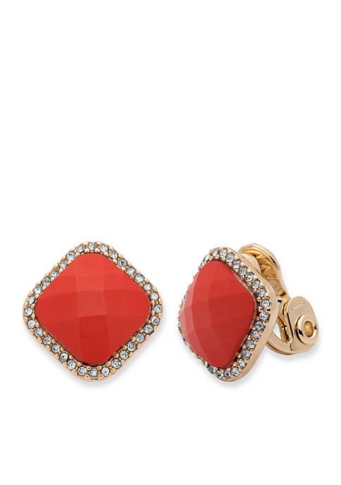 Anne Klein Gold-Tone Square Clip Earrings