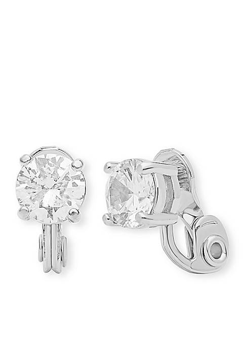 Silver-Tone CZ Stud Clip Earrings