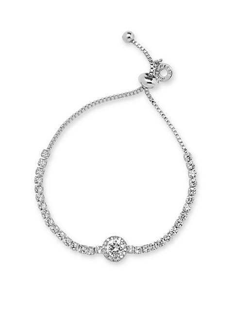 Anne Klein Silver Tone Stone Slider Bracelet