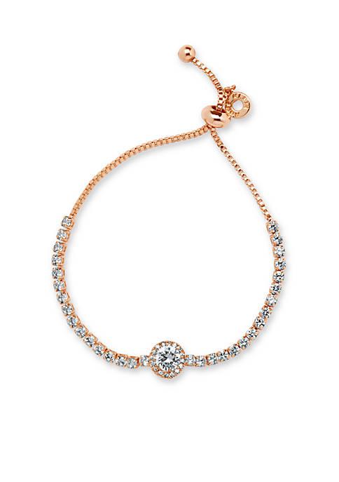 Anne Klein Rose Gold Tone Stone Slider Bracelet