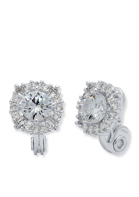 Anne Klein Silver Tone Crystal Clip Earrings