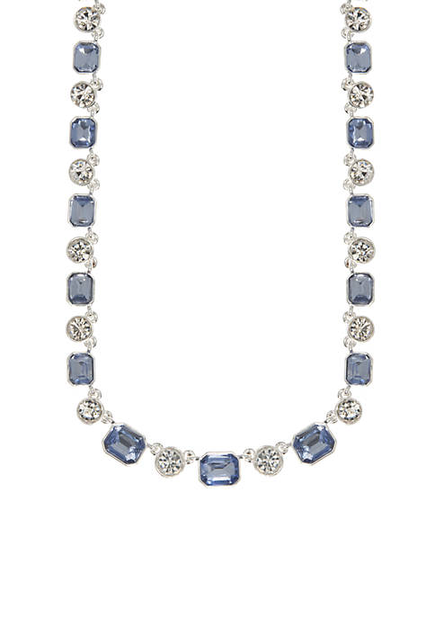Anne Klein Silver-Tone Blue Stone Necklace