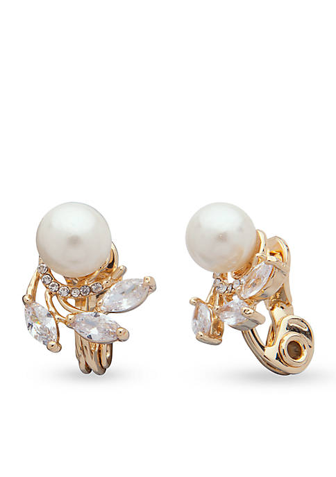 Anne Klein Gold-Tone Cubic Zirconia Pearl Clip Earrings
