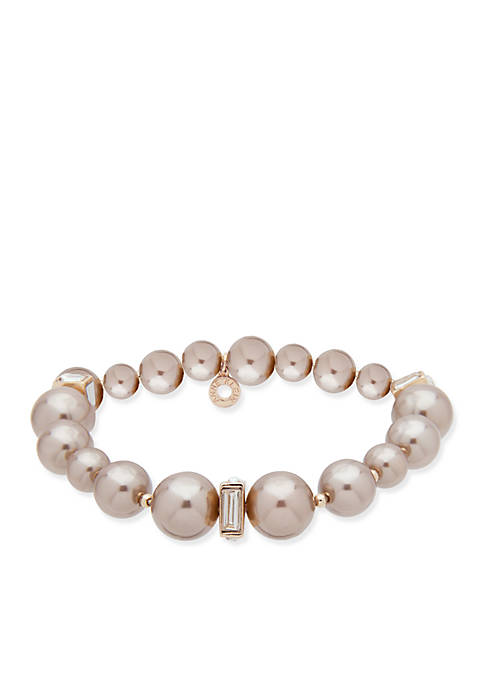 Anne Klein Gold Tone Pearl Stretch Bracelet