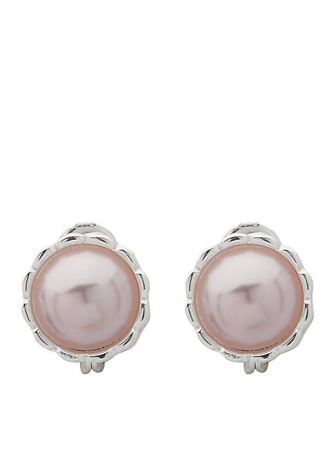 Anne Klein Silver-Tone Pearl Button Clip Earrings