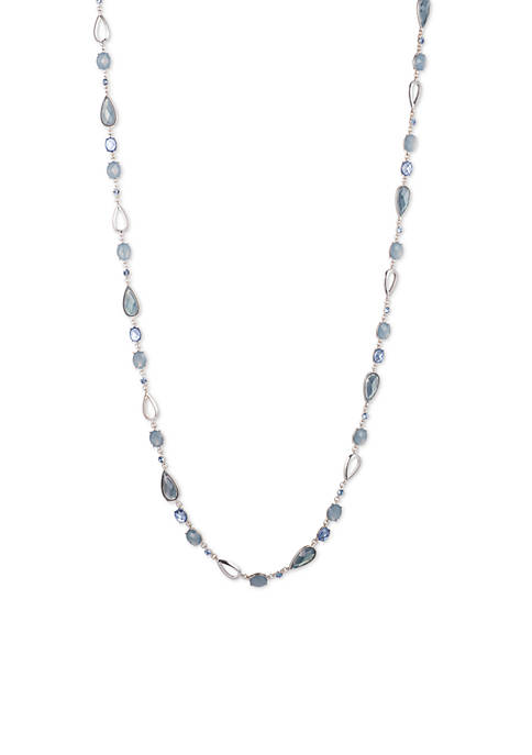 Anne Klein Silver-Tone Denim Strand Long Necklace