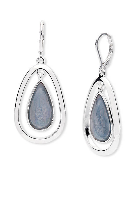 Anne Klein Silver-Tone Denim Leverback Teardrop Earrings
