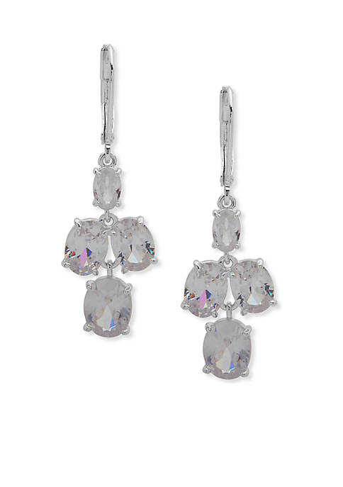 Anne Klein Silver-Tone Stone Double Drop Earrings