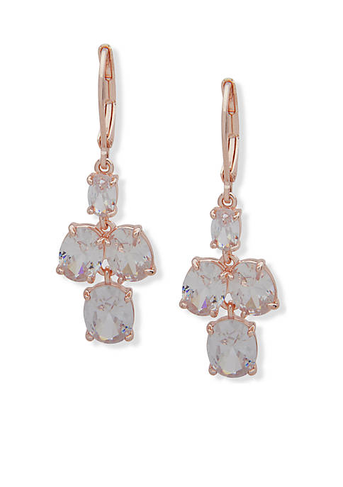 Anne Klein Rose Gold-Tone Stone Double Drop Earrings