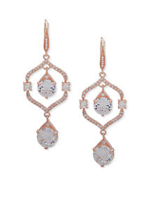 Rose Gold-Tone Pave Stone Drop Earrings