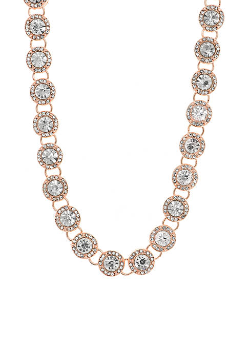 Anne Klein Rose Gold-Tone Stone Collar Necklace