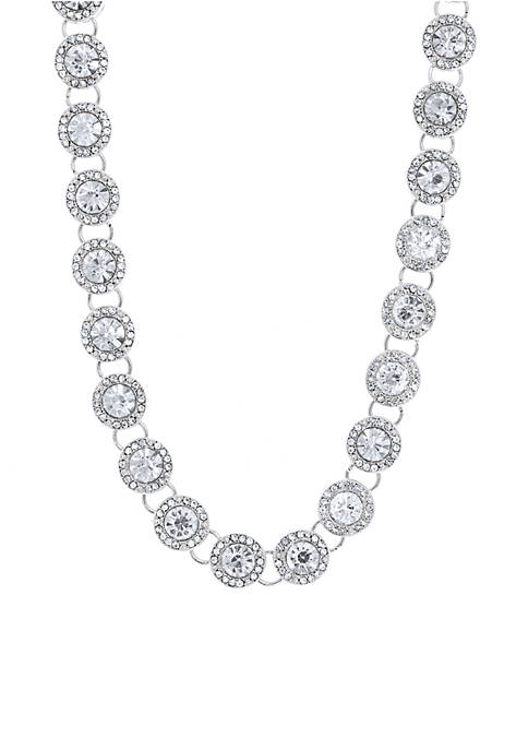 Anne Klein Silver-Tone Stone Collar Necklace