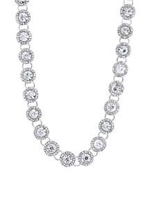 Silver-Tone Stone Collar Necklace