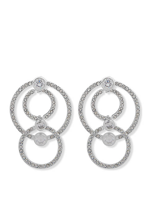 Anne Klein Silver-Tone Pave Orbital Drop Earrings