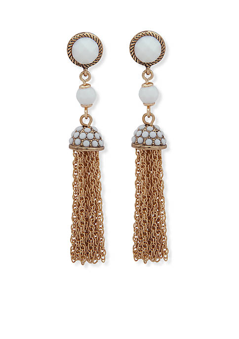 Anne Klein Gold-Tone White Tassel Earrings