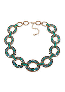 Gold-Tone Blue Collar Necklace