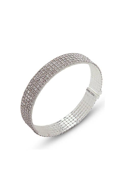 Anne Klein Silver-Tone Stone Cuff Bracelet