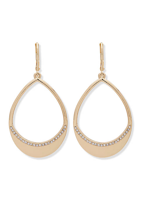 Anne Klein Gold-Tone Oval Drop Hoop Earrings