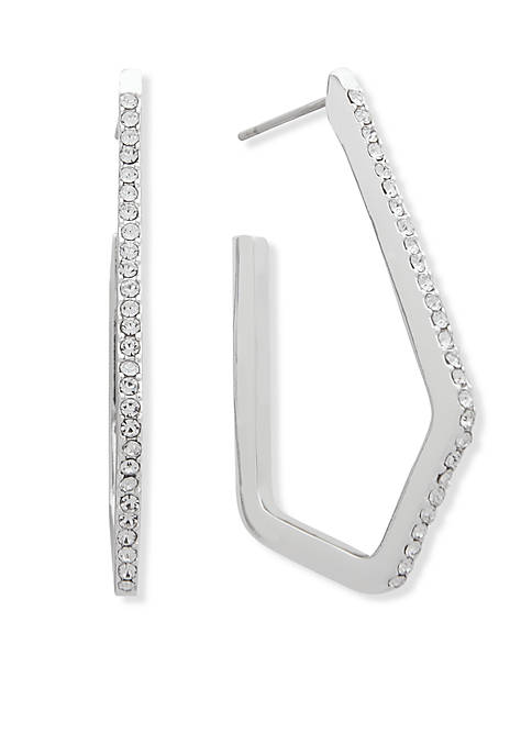 Anne Klein Silver-Tone Geometric Hoop Earrings