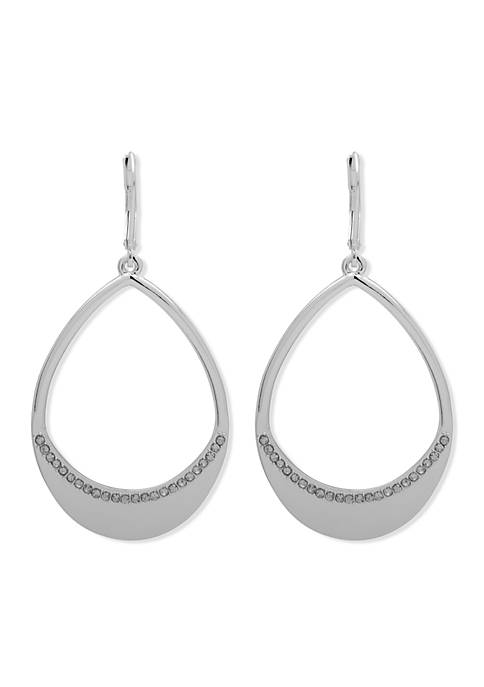 Anne Klein Silver-Tone Oval Drop Hoop Earrings