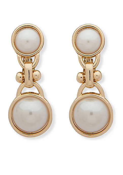 Anne Klein Gold-Tone Pearl Double Drop Earrings