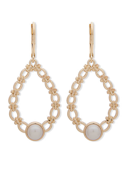 Anne Klein Gold-Tone Pearl Orbital Earrings