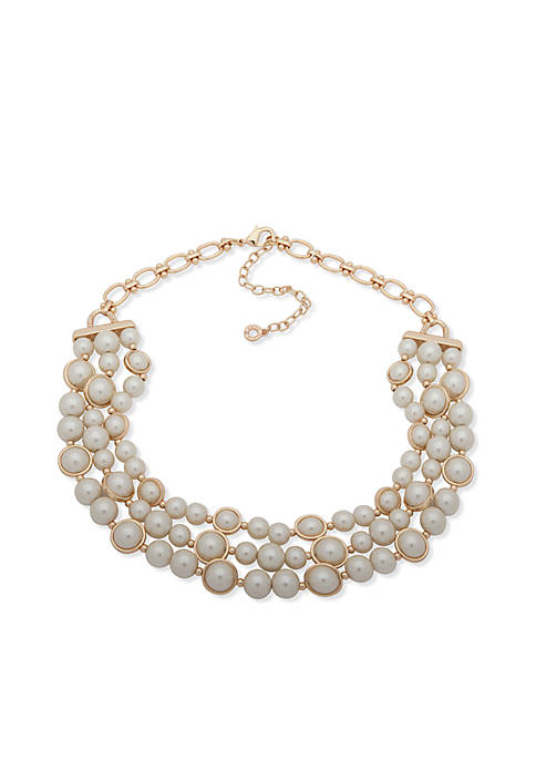 Anne Klein Gold-Tone Three-Row Pearl Necklace