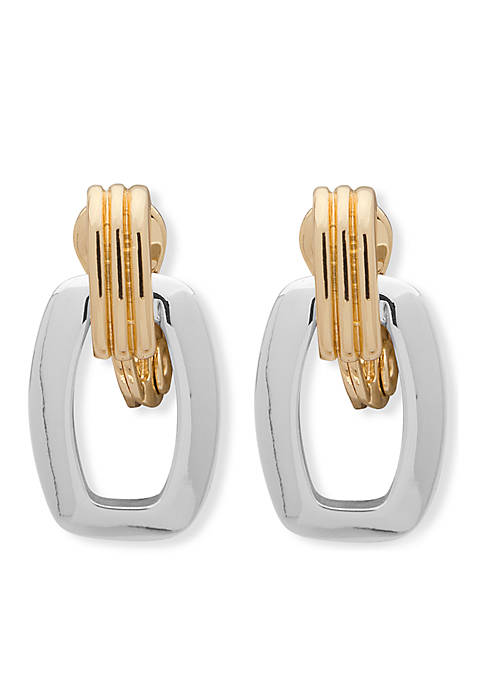 Anne Klein Post Drop Mix-Tone Earrings