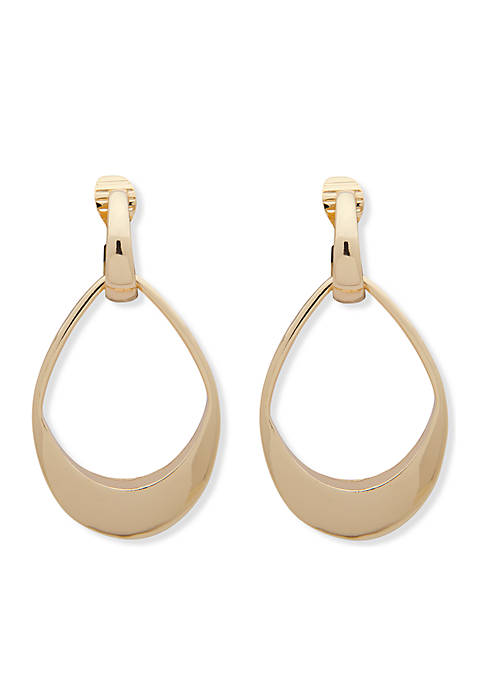 Anne Klein Gold-Tone Large Drop Clip Earrings