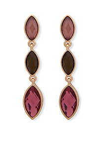 Post Stone Drop Gold Multi Earrings