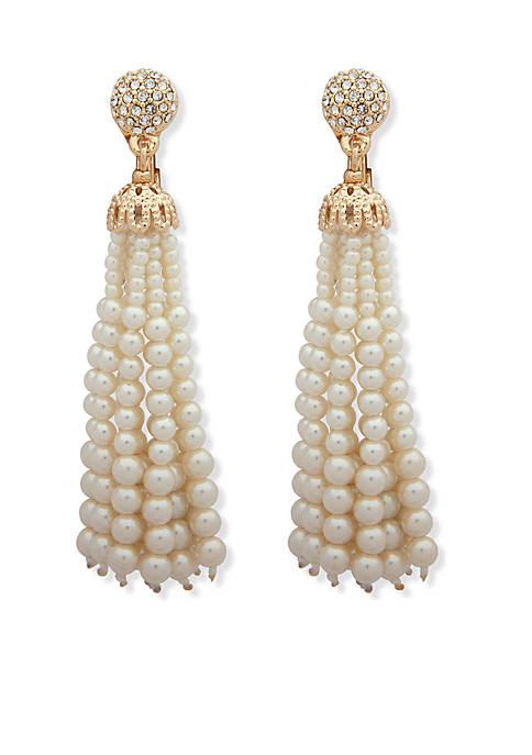Anne Klein Pearl Tassel Earrings