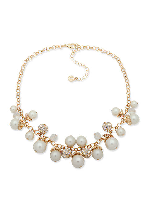 Anne Klein Pearl Shaky Frontal Necklace