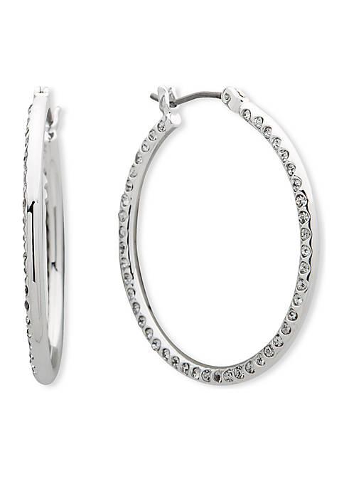 Anne Klein Silver-Tone Medium Flat Pave Hoop Earrings