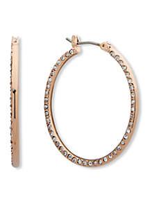Anne Klein Rose Gold-Tone Medium Flat Pave Hoop Earrings