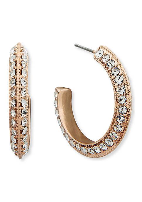 Anne Klein Silver-Tone Medium Pace Hoop Earrings