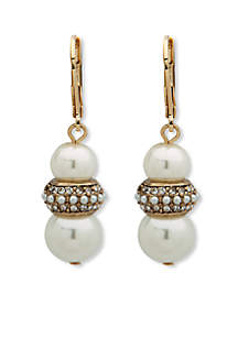Gold-Tone Pearl Lever Back Earrings