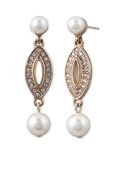 Anne Klein Gold-Tone Pearl Post Drop Earrings