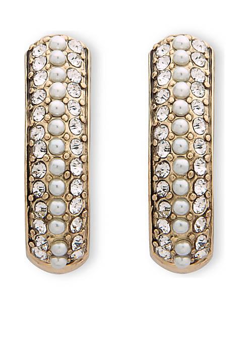 Anne Klein Gold-Tone Pearl Hoop Clip Earrings