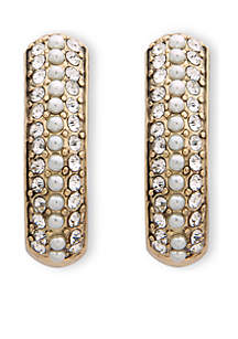 Gold-Tone Pearl Hoop Clip Earrings