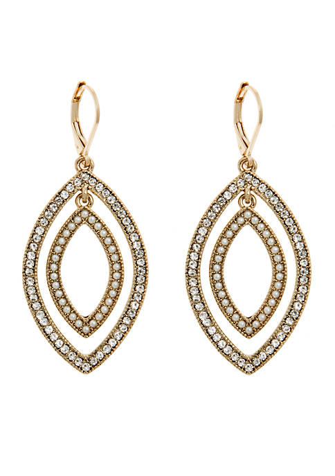Anne Klein Gold-Tone Orbital Peal Earrings