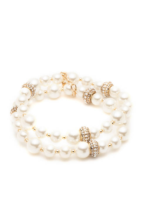 Gold-Tone Two Row Pearl Bracelet