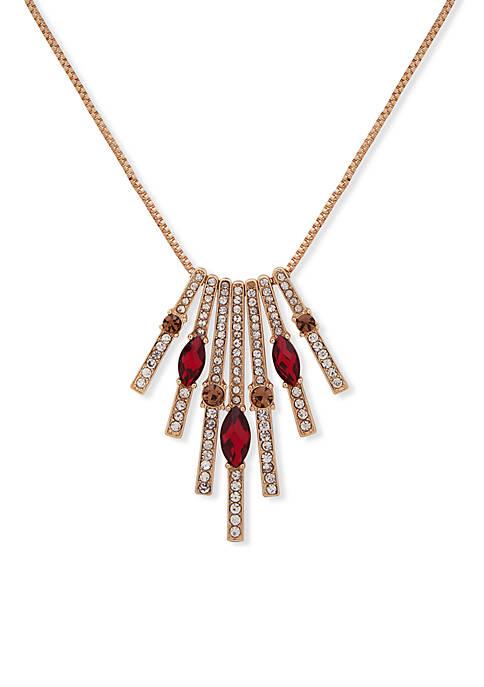 Anne Klein Gold-Tone Long Stone Pendant Necklace