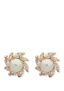 Anne Klein Gold-Tone Halo Pearl Clip Earrings