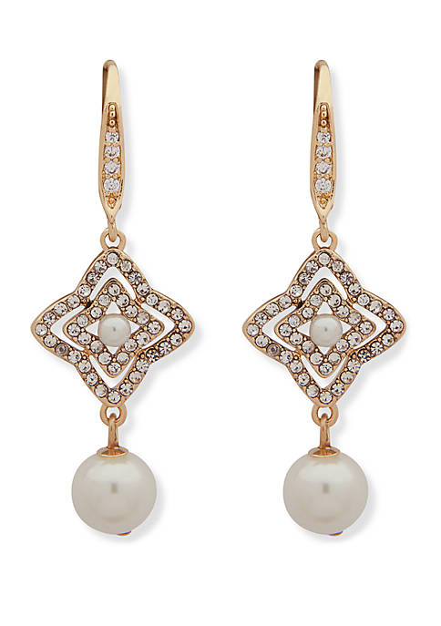 Anne Klein Gold-Tone Pave Pearl Double Drop Earrings