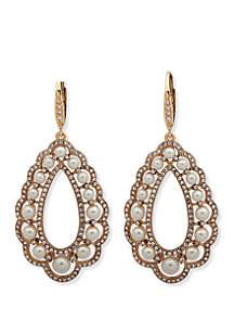 Gold-Tone Pearl Chandelier Earrings