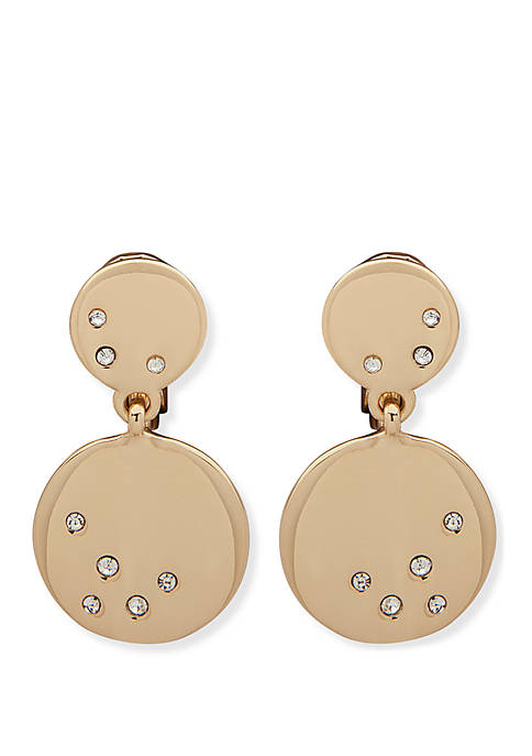 Anne Klein Gold-Tone Pave Disc Drop Earrings