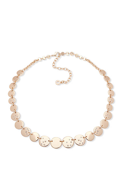 Gold-Tone Collar Disc Necklace