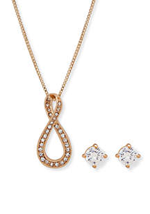 Gold-Tone Pave Infinity Necklace and Stud Set