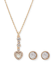 Gold-Tone Pave Heart Necklace And Stud Set